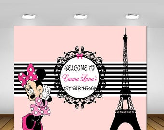 Parisian Vinyl, Paris Themed, Paris Eiffel Tower, Minnie Mouse, Minnie Mouse Paris Party, Pink, Backdrop, Poster, Birthday, Baby Shower