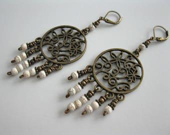 Chandelier Earrings, Filigree Earrings, Antique Brass Earrings, Long Earrings, Women's Earrings