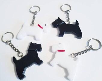 Scottie and Westie dog keyrings