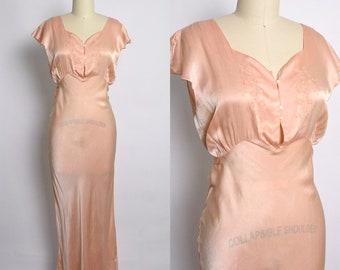 Vintage 1930s Nightgown 30s Silk Bias Cut Gown