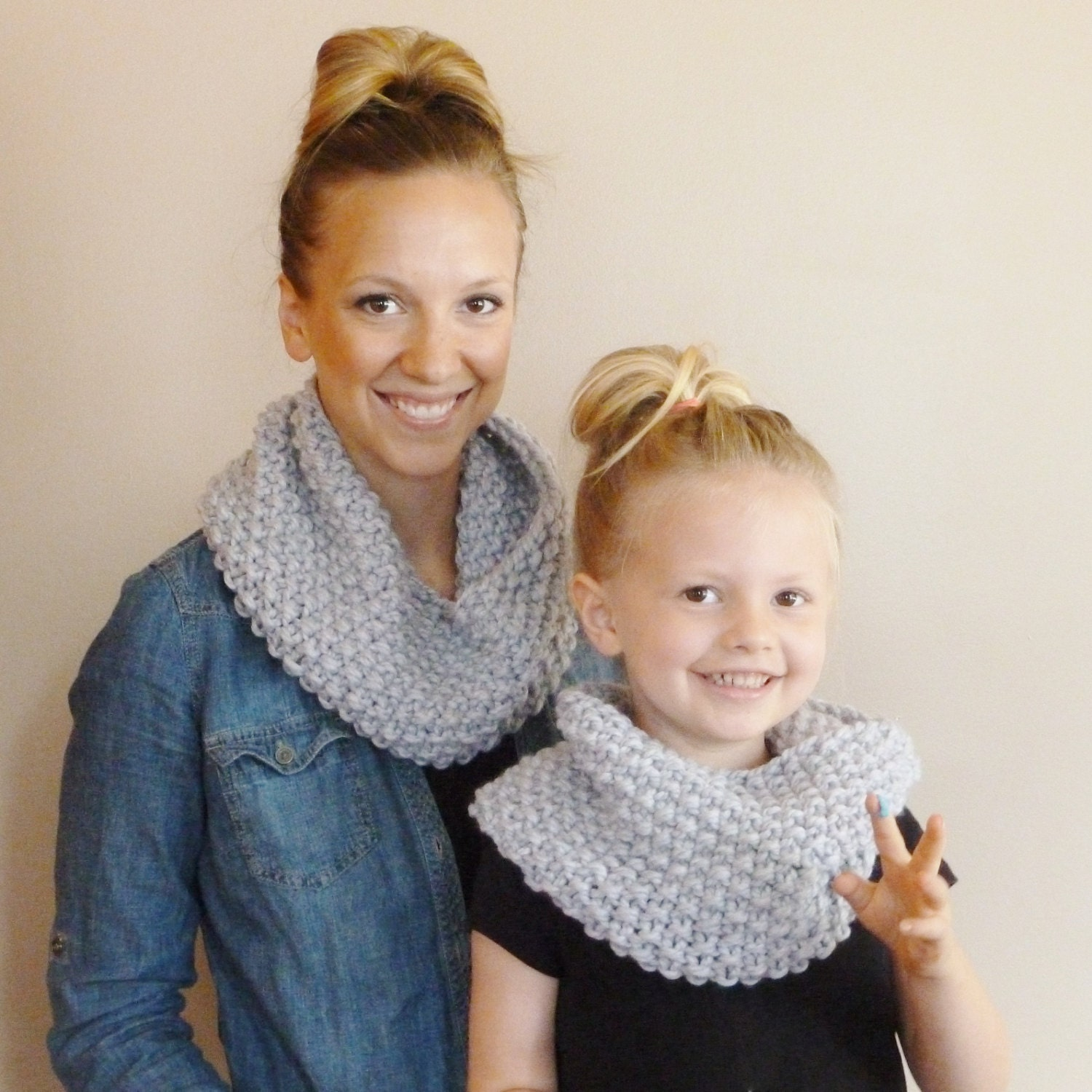Mommy and Me Matching Knit Infinity Scarves YOUR COLOR CHOICE