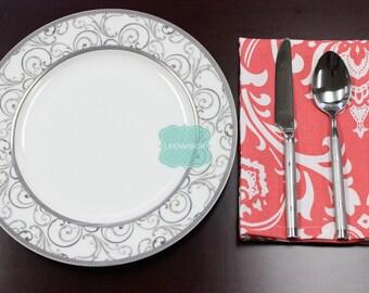 NAPKINS - Set of 4 - Premier Prints - OZBORNE - Coral White - Table Linen Home Decor Cotton Cloth Fabric Dining Dinner Napkins
