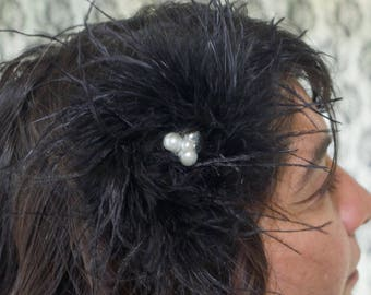 Hair Clip - Black Marabou Feather with Pearl & Rhinestone Accent