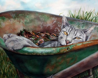 Grey Tabby Cat in Wheelbarrow Watercolor Digital Print, Cat Painting, Cat Wall Art, Cat Home Decor, Pet Art Portrait, Cat Lover Gift