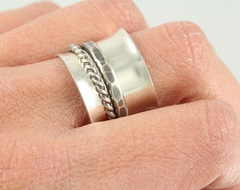 Sterling Silver Band Spinner Ring with One Froged and One Twisted Wire Sterling Spinners