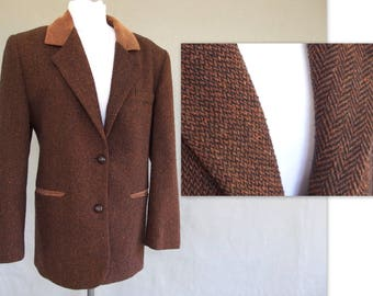 Tweed Wool Jacket, Vintage Professor Blazer,  Modern Size 8, Small