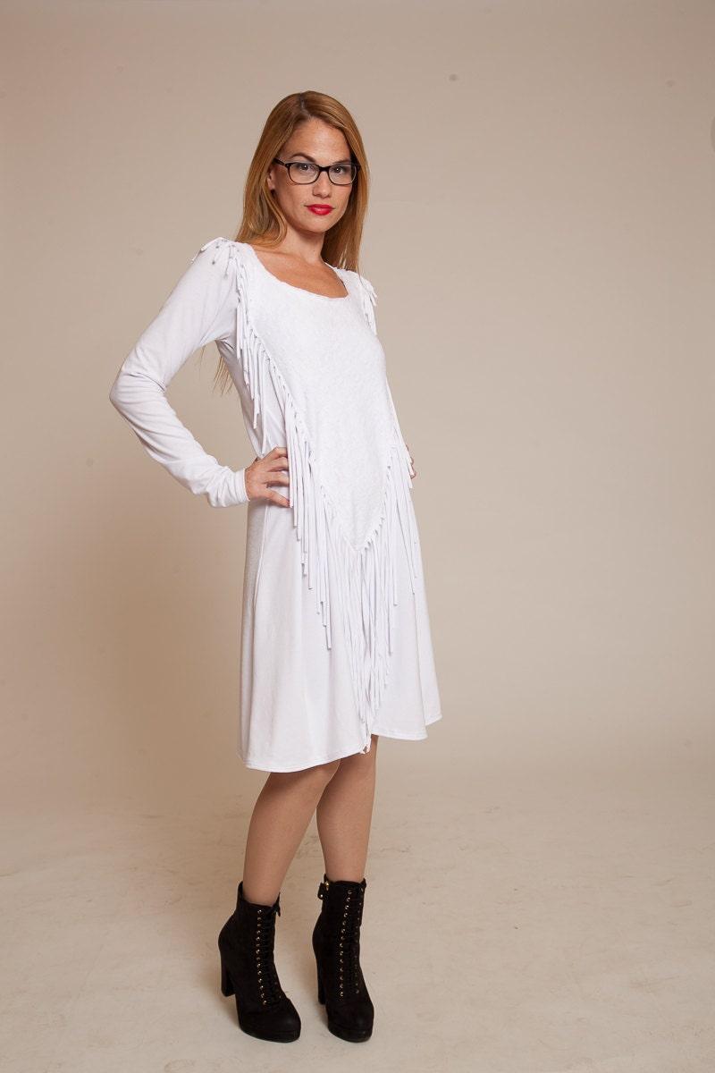 Weiße Spitze mit Quasten Langarm Kleid knielang Boho