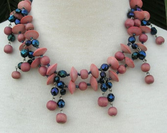 Dressy Pink & Blue 2-Strand Necklace and Matching Clip-on Earrings, pink wood and blue glass beads, vintage
