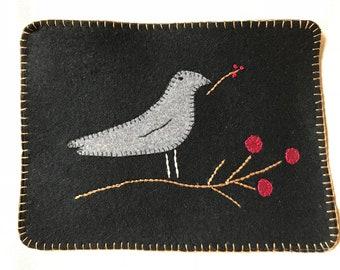 Bird & Winterberry Penny Rug