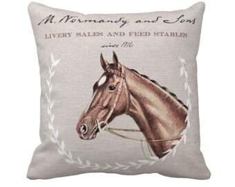 Pillow Cover Horse Stables Equestrian Horse Decor Pillow