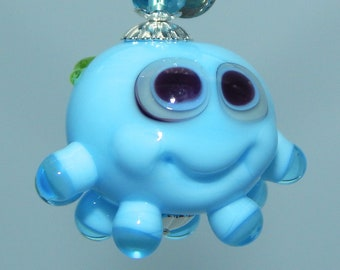 Squeedle Charm Clip Lampwork Blue Purple Green Octopus Cute Character Diabetes Ocean Miniature Sealife Fun