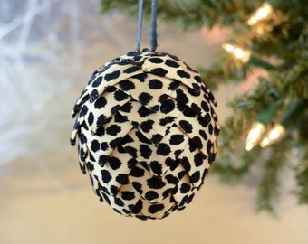 Velvet Cheetah Print Christmas Ornament Patterned Animal Print Tree Decoration Unique Holiday Gift Idea for Sister Ribbon Pine Cone Ball