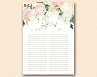 Baby Shower Checklist Pdf ~ Guest list etsy