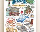 Alaska print. Illustration. Map. State symbols. Bird. Flower. Juneau. The last Frontier. King Crab.