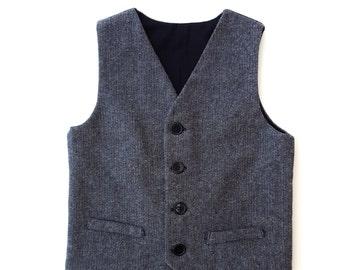 Boys Herringbone Suit Vest, Gray Vest, Baby Suit Vest, Toddler Suit Vest, Ring Bearer Outfit, Formal Vest, Boys Wedding Outfit,