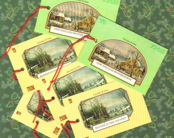 Vintage Christmas Gift Tags, Currier and Ives New England Winter, Retro Holiday
