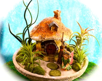 "Fairy Garden Planter Kit ~ Rustic Concrete 7.25"" Bowl ~ Mushroom house with Fairy or Gnome choice ~ Office planter ~ Air Plant Terrarium"