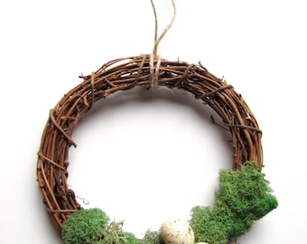 Small Woodland Wreath with Moss and Eggs, Rustic Country Christmas