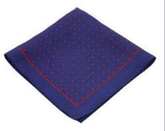 Silk Pocket Square / Pocket Handkerchief / Polka Dot Handkerchief / Mens Handkerchiefs Men Hanky / Silk Handkerchief