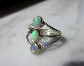 Sterling opal ring 925 opal ring silver opal ring Sz 7 1/4 Welo opal 925 silver ring opal ring October birthstone natural opal clearance