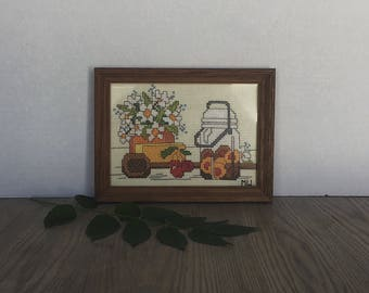 Vintage Embroidery, Framed Embroidery, Hand Embroidery, Floral Embroidery, Framed Art, Kitchen Decor, Cottage , Shabby Chic