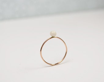 14K rose gold plated ring. Porcelain bead. ULAS. Thin ring. Minimalist jewelry. Simple light small. Pink gold pearl ring.