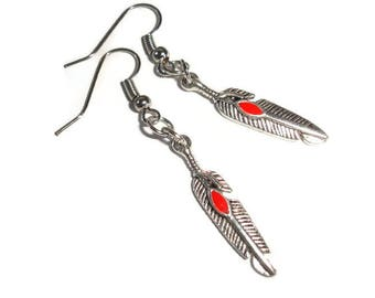 Feather Earrings Native feather earrings silver earrings southwestern earrings silver feather earrings gift for her simple pierced earrings