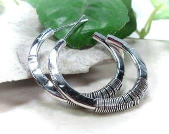 Hoop Earrings Silver Oxidized Wrap - 1 inch hoops, 2 inch hoops, 3 inch hoops, big hoops, small hoops, silver hoops, post hoops