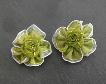 2 flowers green and white color satin for scrap fabric