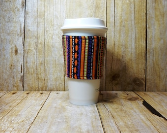 CLEARANCE / Fabric Coffee Cozy / Halloween Stripes Coffee Cozy / Halloween Coffee Cozy / Coffee Cozy / Tea Cozy