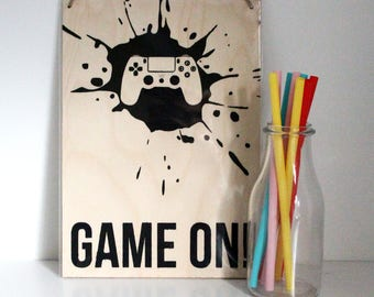 Playstation Wall Art - Game On Painting - Games Room Decor - Christmas Gift - Stocking Filler - Mancave Painting - Gamer Art