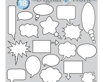 "Speech Bubble, digital clip art, Speech bubbles: ""COMIC CLIPART"" text bubbles for digital scrapbooking, Instant download digital clipart"