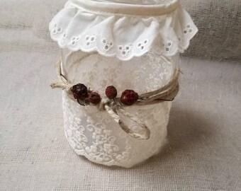 Handmade glass lantern with lace and elegant Sangallo shabby