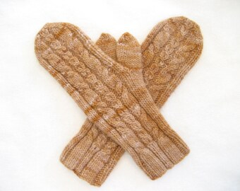 Brown wool mittens, merino mittens, hand knit mittens, tan mittens, cabled, extra long cuffs, shades of brown, size small / medium, stretchy