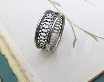 Gate Wedding Band Ring In Oxidized Sterling Silver Openwork Band Ring