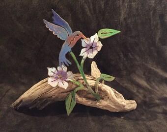 Hummingbird With Flowers On Wood