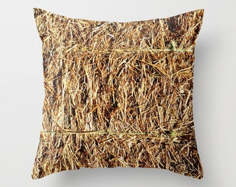 Photo Pillow Cover Decorative Hay Bale Pillow Brown Rustic Pillow Farm Pillow