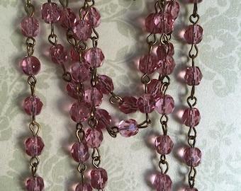 Handmade Linked Beaded Chain Light Cranberry lavender 6mm Faceted Czech Glass Beads