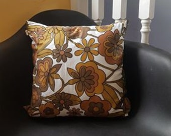1970s Floral Cushion in Autumn Colours
