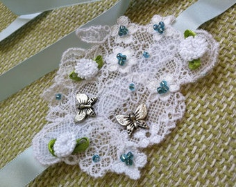 Blue flower, butterfly and lace headband