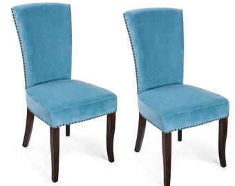 Furnistars Blue Velvet Living Room Side Chairs / Dining Chair with Birch Legs (Set of 2) - Free Shipping! (CH0170-1)