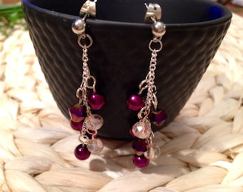 Purple and Pale Pink Cluster Earrings