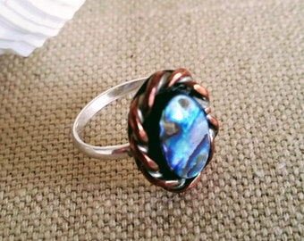 Mixed Metal Abalone shell ring, with Sterling Silver band and base.  Size 6