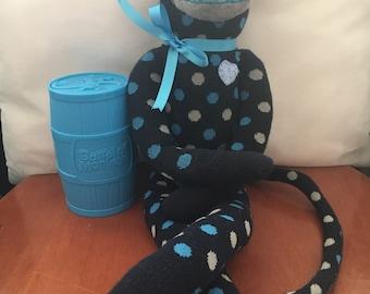 Navy, Aqua & Grey Spotted Sock Monkey