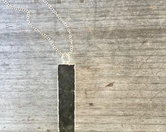 Labradorite Bar Necklace - Labradorite Necklace - Bar Necklace - Labradorite Bar - Gift under 35 - Unique Gift - Vertical Bar Necklace
