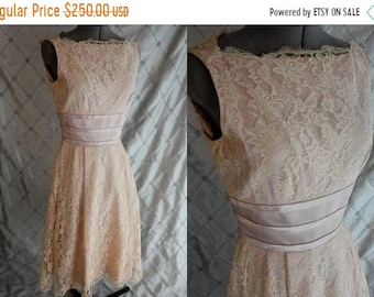 "ON SALE 50s Dress // Wedding Dress //  Vintage 50s Cream Lace & Satin Dress by Madeleine Fauth Size S 26"" waist"