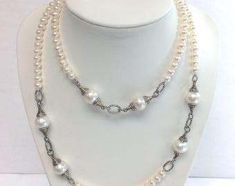 "32"" Sterling Bali Silver 5-5.5mm & 10.5-11.5mm White Freshwater Cultured Pearl Necklace"