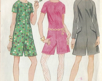 1967 Vintage Sewing Pattern B34 PANTDRESS SCOOTER-DRESS (R876) McCalls 9075