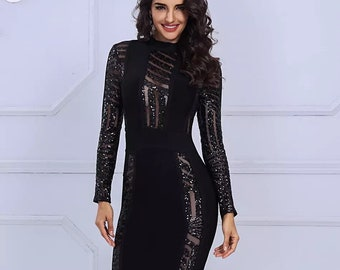 Chic Black long sleeve Sequins Patchwork Mesh  Body con Bandage Dress / Club wear