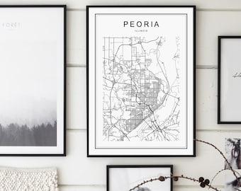 Peoria Map, Peoria Poster, Peoria Illinois Map, Peoria Map Print, Illinois Map, United States Map Print, Peoria Illinois Black and White Map